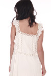 Back shows white crochet detailed mini dress with ruffled tank sleeves.