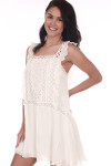 Front sideshows white crochet detailed mini dress with ruffled tank sleeves.