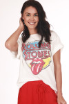 "Front shows white ""Rolling Stones"" graphic design tee with tongue out.  Shown worn with red pants and sandals."