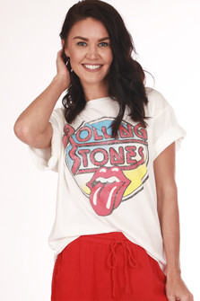 "Front: Base white ""Rolling Stones"" graphic design tee with tongue out."