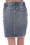 Back show light blue denim jean skirt with pockets. Mid thigh length.