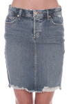 Front shows distressed light blue denim jean skirt with pockets. Mid thigh length.
