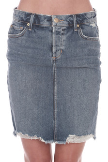 Front: Distressed light blue denim jean skirt with pockets. Mid thigh length.