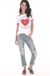"Front show white and red ""Saturday and Sunday"" tee with Heart shape in the middle. Shown with blue jeans and sandals."