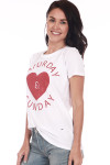 "Side show white and red ""Saturday and Sunday"" tee with Heart shape in the middle."