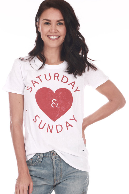 "Front show white and red ""Saturday and Sunday"" tee with Heart shape in the middle. Shown with blue jeans."