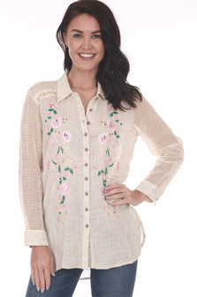 Front:  Light rose Gold Rush Button Up Blouse with pink and green floral patterns  on front sides. See-through sleeves.
