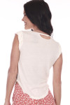 Back shows  plain white with one distressed slit at top.