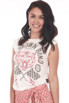 Front shows Zac Brown Band distressed tee with red tiger and flag deign and slits at top.