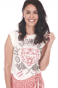 Front shows Zac Brown Band distressed tee with red tiger and flags deign and slits at top.
