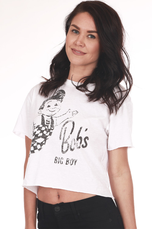 "Front shows white ""Bob's Big Boy"" Cropped Tee with faded black writing and picture. Shown wearing black pants."