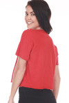Back: Plain  red tee at back.