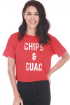 """Front: Red """"Chips & Guac"""" Cropped Tee with white writing."""