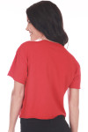 Back shows plain red tee at back.