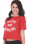 "Front side shows red ""Tacos And Cervezas"" (Beer) Cropped Tee. Red tee with white writing."