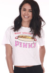 "Front shows ""Pinks Hot Dogs"" theme cropped tee shirt with hot dog design and wording."