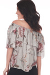 Back shows Off the shoulder floral blouse with mid sleeves and one layer ruffle at top. Grey base color with light pink floral.