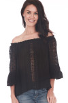 Front shows black off-shoulder 3/4 sleeve classy blouse with lace crochet designs down the arms and down middle front.