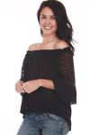 Side shows black off-shoulder 3/4 sleeve classy blouse with lace crochet designs down the arms and down middle front.