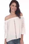 Front shows ivory off-shoulder 3/4 sleeve classy blouse with lace crochet designs down the arms and down middle front.