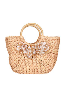 front: Tightly knitted natural hand held straw bag with round levers. Straw tree-like design on front.