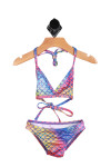 Front shows Multi-colored mermaid designed two-piece swim suit with halter straps.