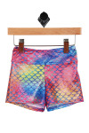 Front shows Multi-colored mermaid designed swim shorts.