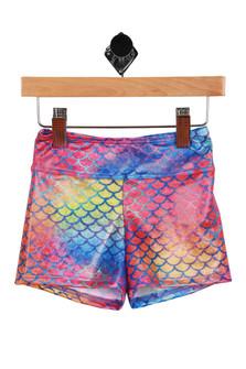 Multi-colored mermaid designed swim shorts.