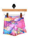 Front shows colorful and bright cloud, rainbow, and unicorn themed swim shorts.