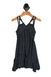 Front shows black and white classic polka-dot summer dress with double spaghetti straps.