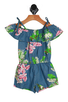 Blue denim one-piece shorts romper with Hawaiian style bird and flower designed patterns. Off the shoulder sleeves and adjustable tie  straps.