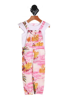 Adorable over-all jumpsuit set with yellow Hawaiian style palm trees with pink and white background. Comes with attached white tee shirt.