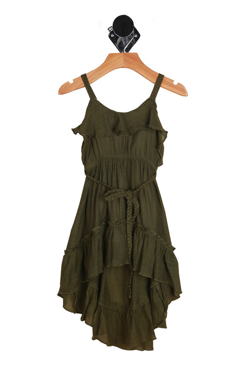 Spaghetti straps with ruffle flap detail at top, elastic band at waist, matching braided belt and high lo bottom hemline. dress is in an olive color