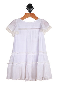 Front shows elegant summer dress with lacy hemline sleeves. Dress is tiered.