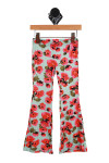 floral print is pink, orange, green and light blue background.