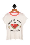 """white ringer-style tee with peach neckline, says """"SUMMER VIBES & TAN LINES"""" with watermelon image printed at front."""