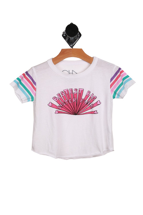 """short sleeve white tee with light blue, teal, pink, hot pink & purple stripes at sleeves and """"BESTEST BIG SISTER EVER"""" written at front in hot pink"""