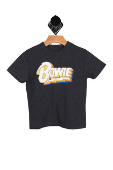 "heather dark grey short sleeve tee with ""BOWIE"" written at front"