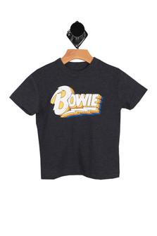"heather dark grey short sleeve tee with ""BOWIE"" written at front"