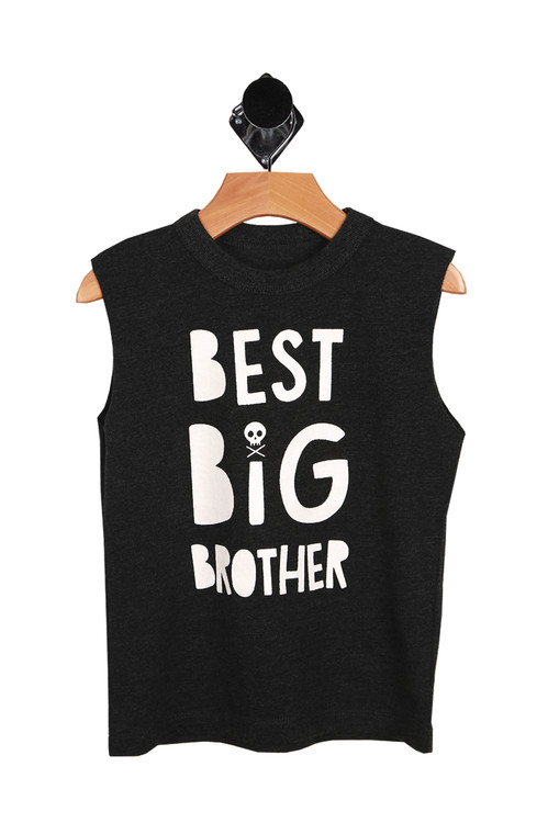 "black muscle tank with ""best big brother"" printed at front in white."