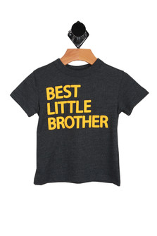 """heather grey classic short sleeve tee with """"best little brother"""" in yellow"""