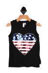 Black sleeveless muscle tank with American Flag sequin heart at front.