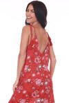 back shows deep V with self-tie tassel ties and all over red, pink & white floral print.