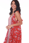 front shows self-tie straps and all over red, pink & white floral print.