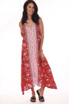 full front body shows red pink and white floral design all over with center Aztec-like print. Asymmetrical bottom hemline and front slit.