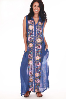 full body front shows button down entire front, embroidered down center and semi-sheer royal blue material all over.