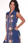 front shows button down entire front, embroidered down center and semi-sheer royal blue material all over.