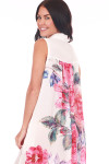 back shows contrasting rose print at back in shades of pink on white background.
