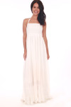 Front shows All white long maxi dress with spaghetti strap halter straps.