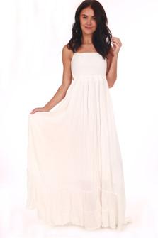 Open Back White Maxi Dress